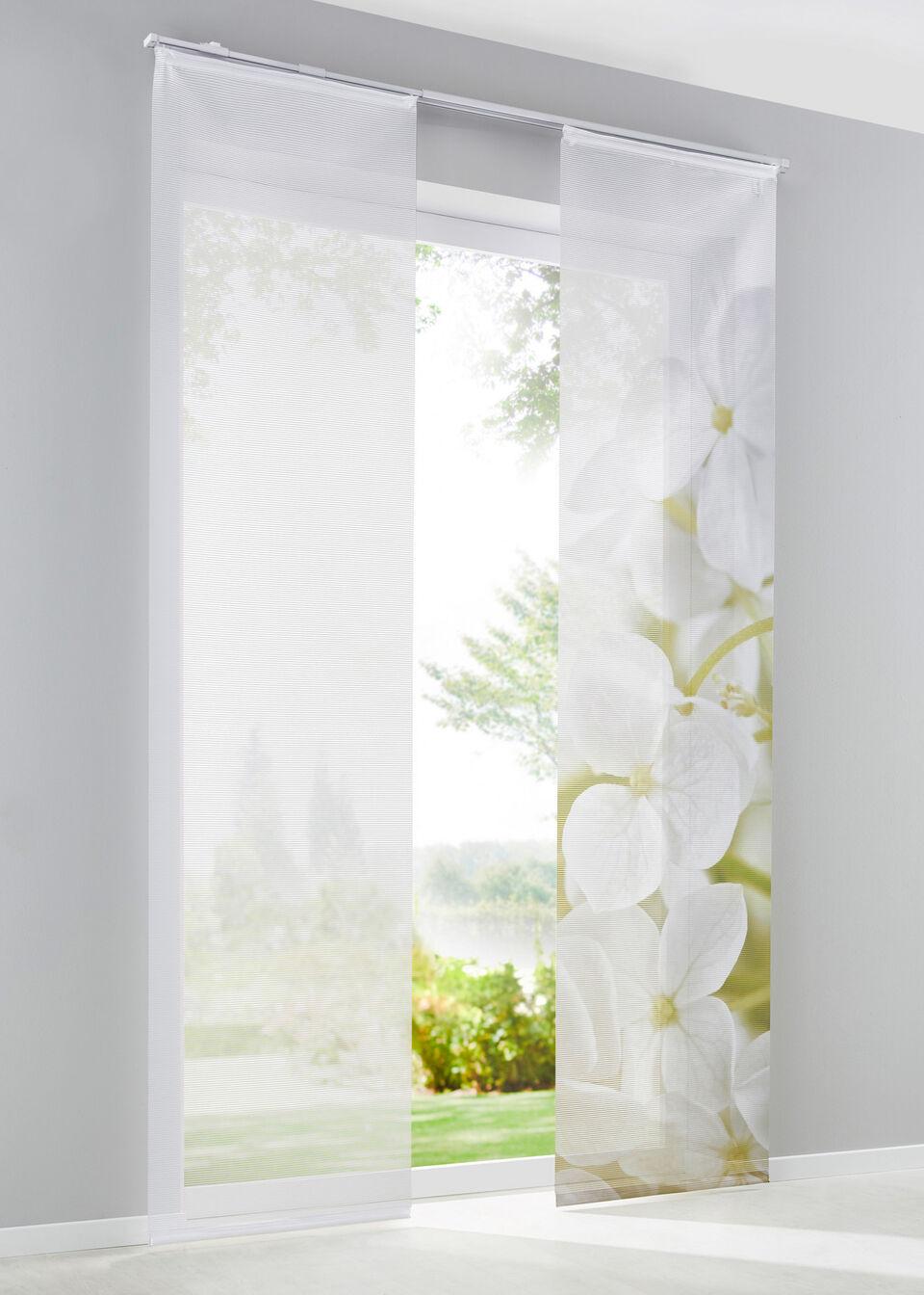 Zasłony panelowe w kwiaty orchidei (2 szt.) bonprix biały