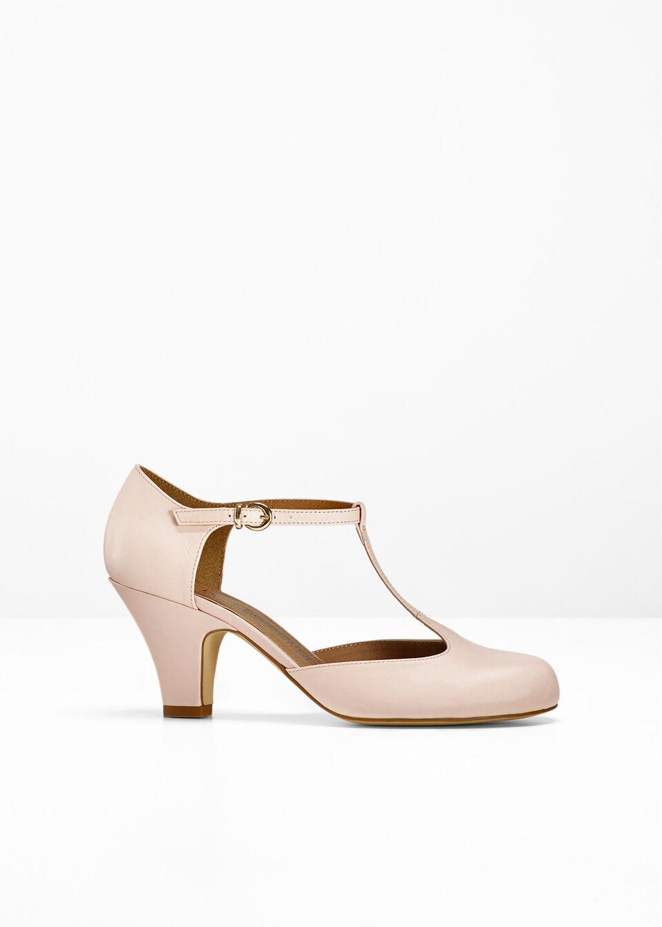 Купить Лодочки, Кожаные туфли на ремешке, bonprix, розовый