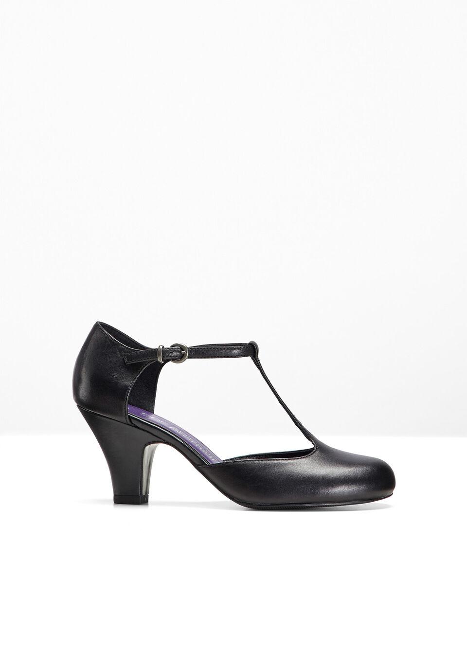 Купить Лодочки, Кожаные туфли на ремешке, bonprix, черный