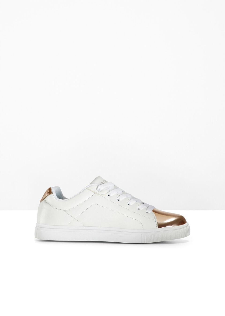 Sneakersy bonprix biało-miedziany