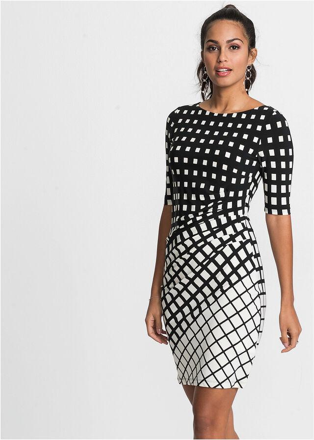 f5123b58d9 Sukienka shirtowa czarny-ecru Modna • 109.99 zł • bonprix