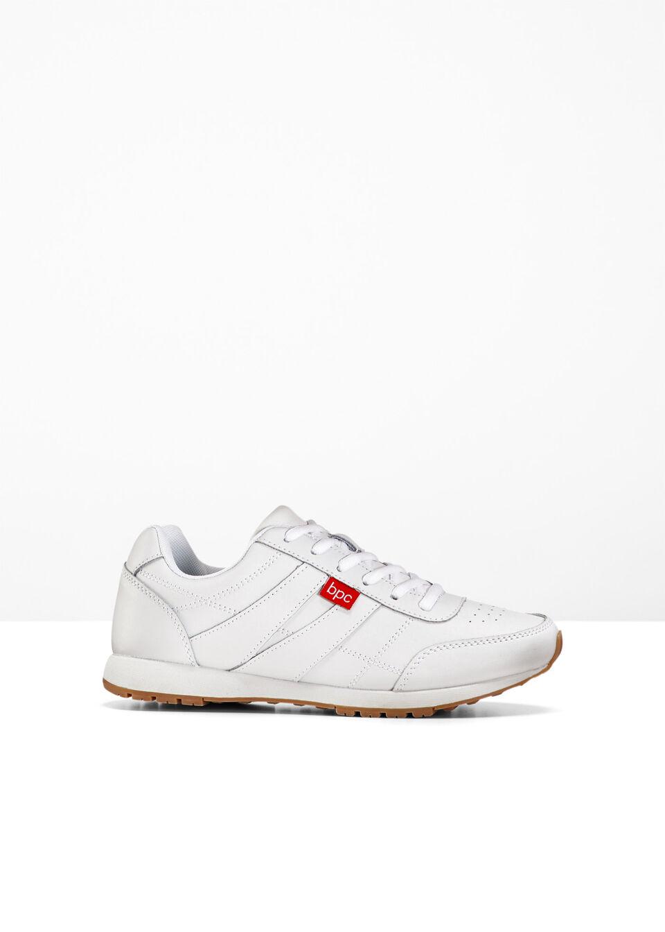 Sneakersy skórzane bonprix biały