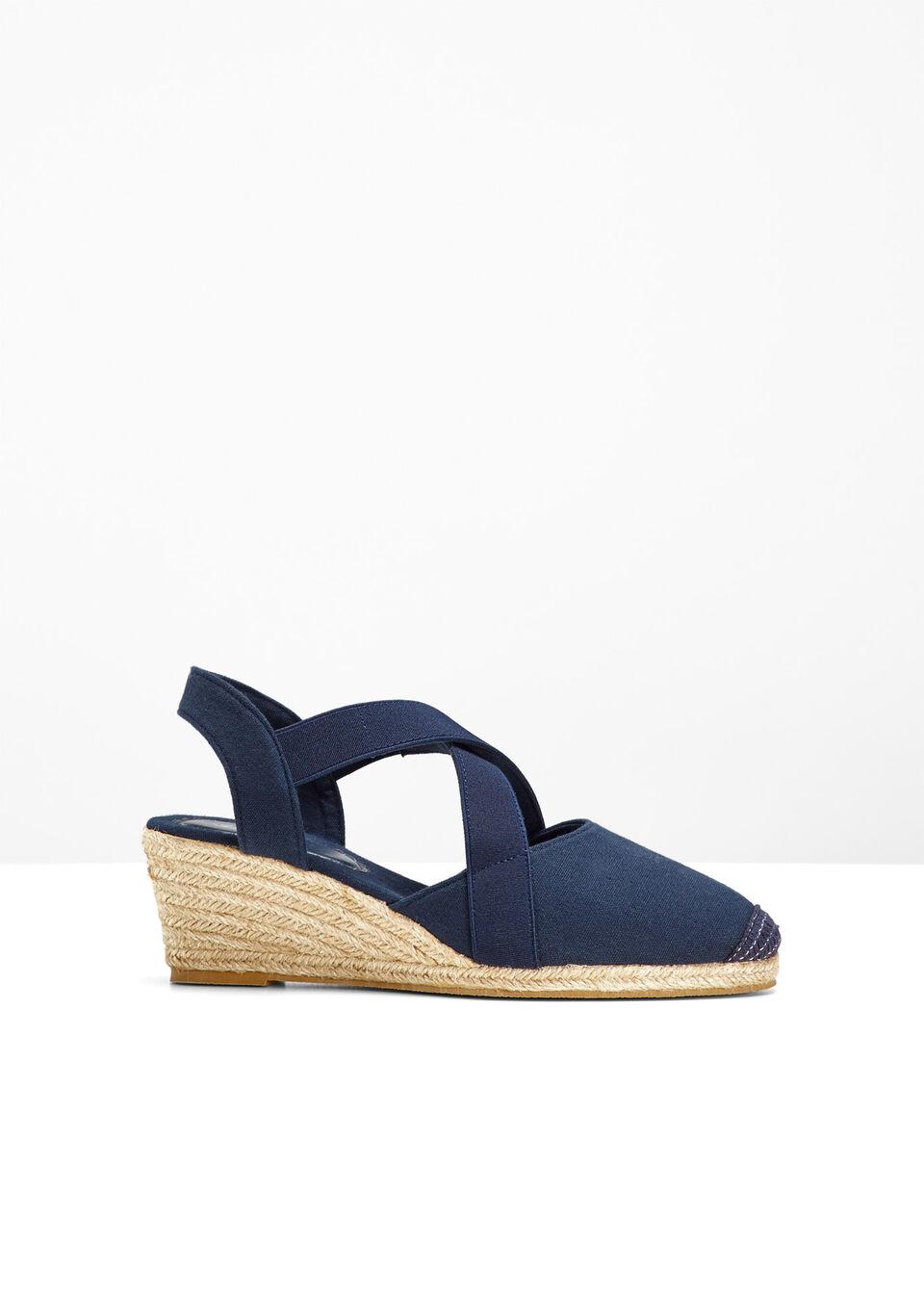 Sandały na koturnie bonprix ciemnoniebieski