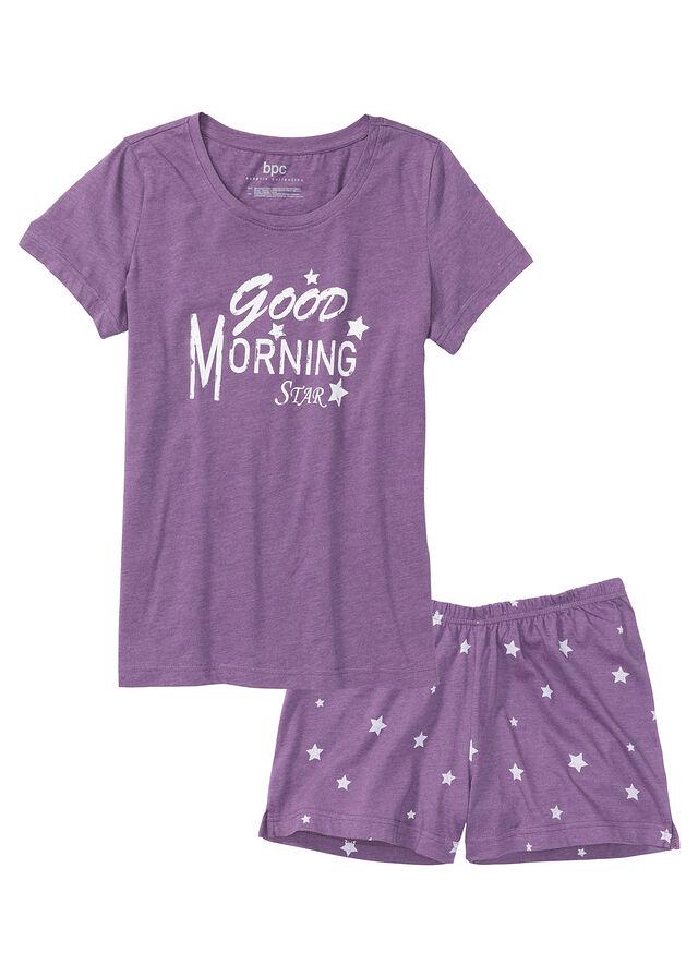 a0a5641d90e24f Piżama z krótkimi spodenkami • lila melanż - biały z nadrukiem • bonprix  sklep