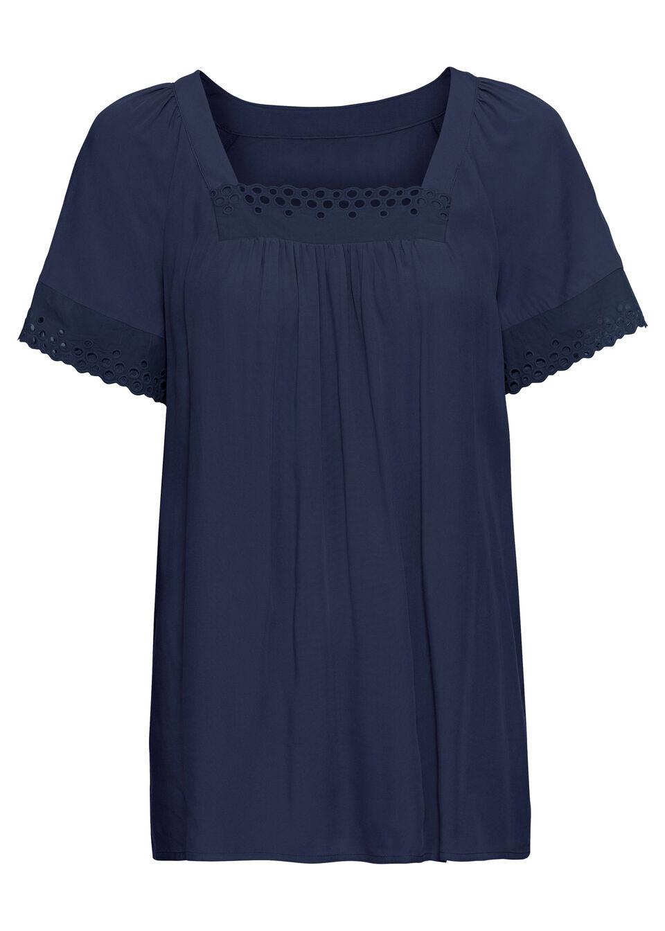 Shirt bluzkowy z ażurową koronką bonprix ciemnoniebieski bonprix