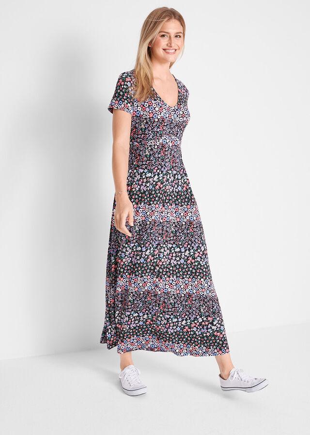 3c263346c9 Długa sukienka z krótkim rękawem • czarno-lila w kwiaty • bonprix sklep