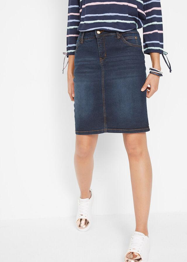 02ff02bfd065 Strečová džínsová sukňa tmavomodrá S • 21.99 € • bonprix