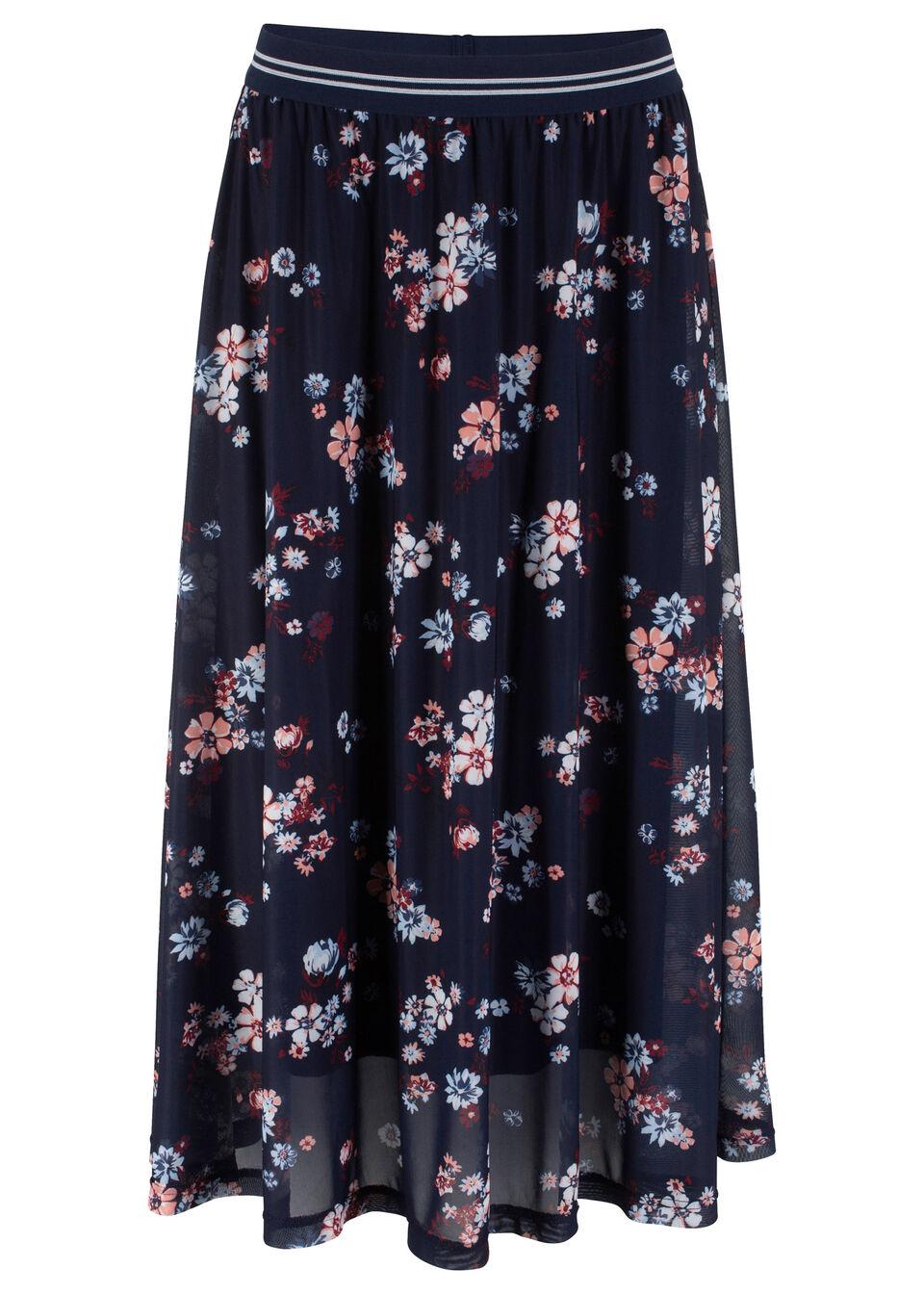 Spódnica siatkowa z elastycznym paskiem bonprix ciemnoniebieski w kwiaty