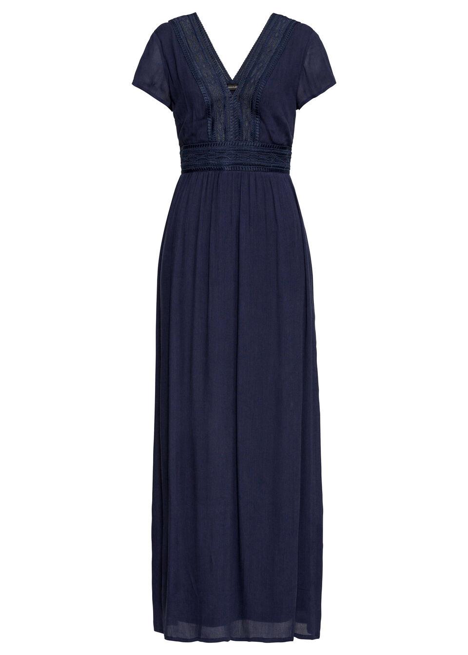 Długa sukienka letnia z koronką bonprix ciemnoniebieski
