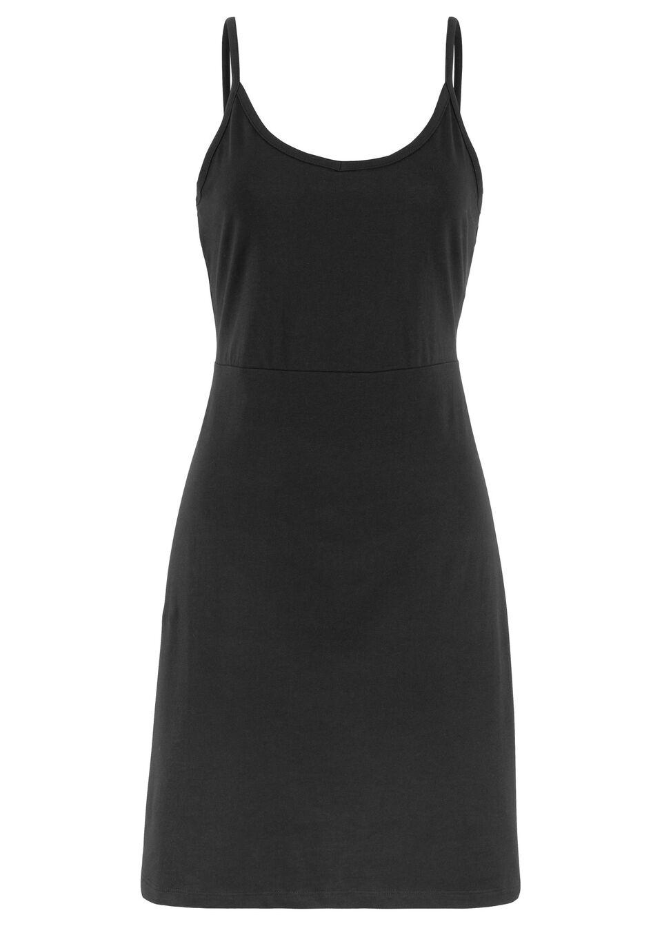 Letnia sukienka z dżerseju na cienkich, regulowanych ramiączkach bonprix czarny