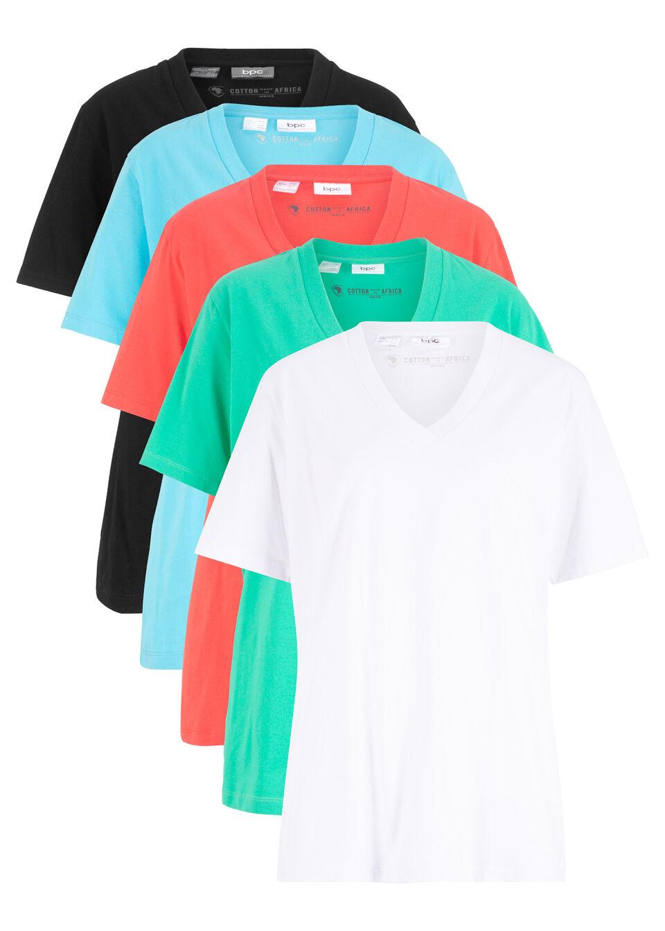 Купить Футболки, Удлиненная футболка с V-образным вырезом (5 шт.), bonprix, синий + зеленый + лососевый + черный + белый