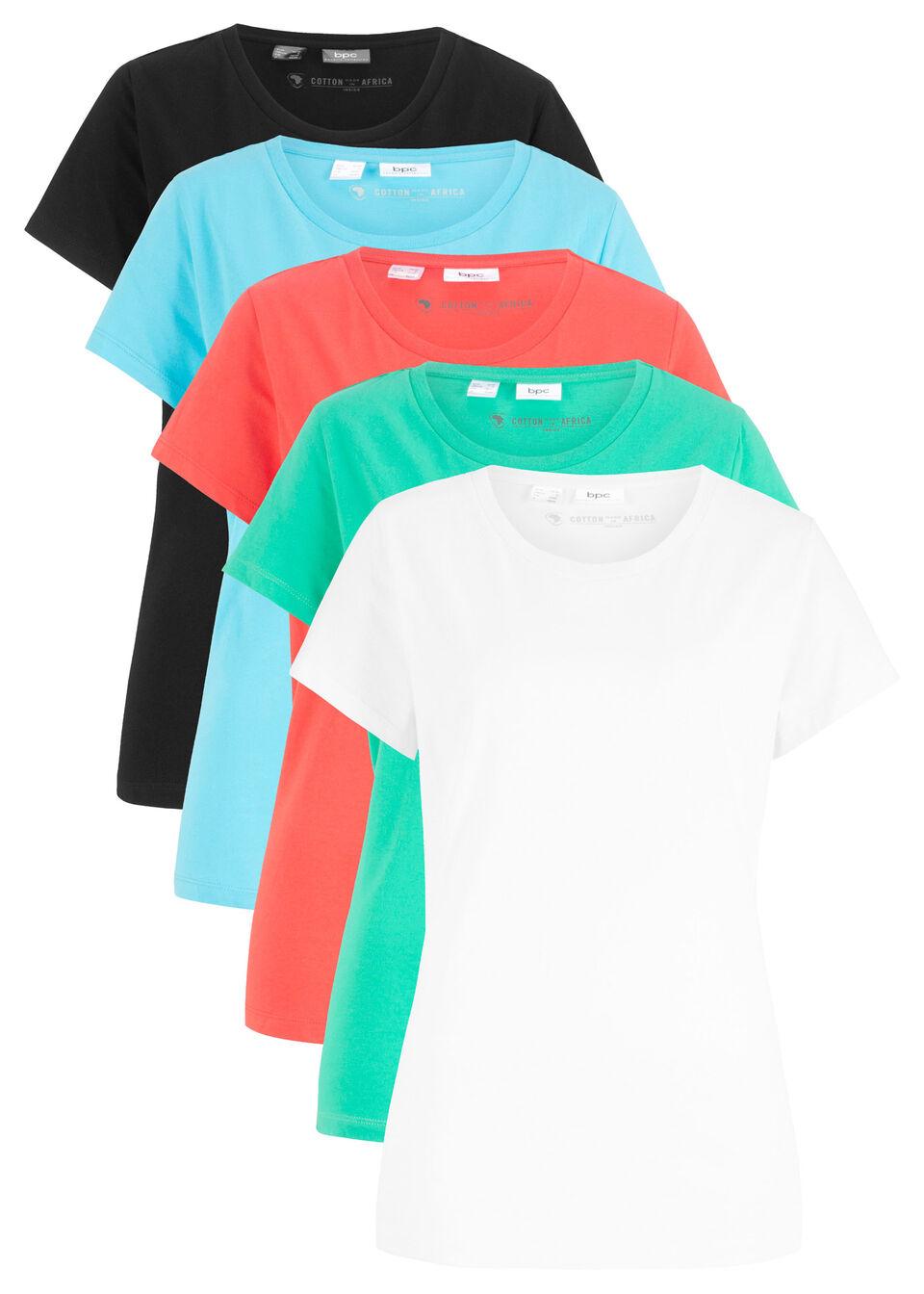 d5a996042755 Hosszú póló (5 db-os csomag) hibiszkuszpink+világosszürke  melírozott+fehér+fekete+sötétkék • 6495.0 Ft • bonprix