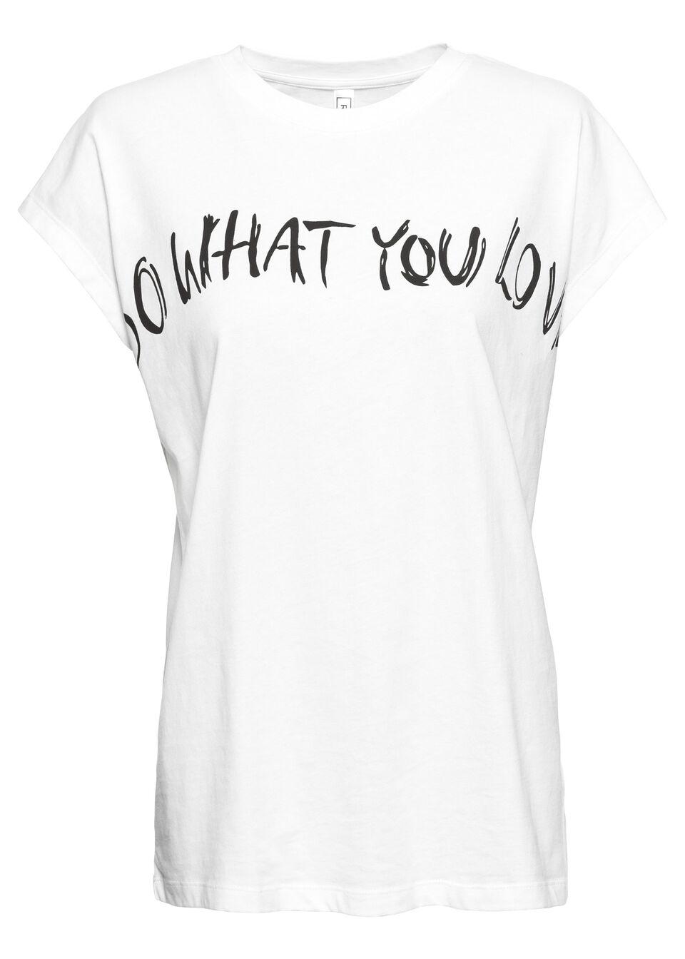 Shirt oversize bonprix biały z hasłem