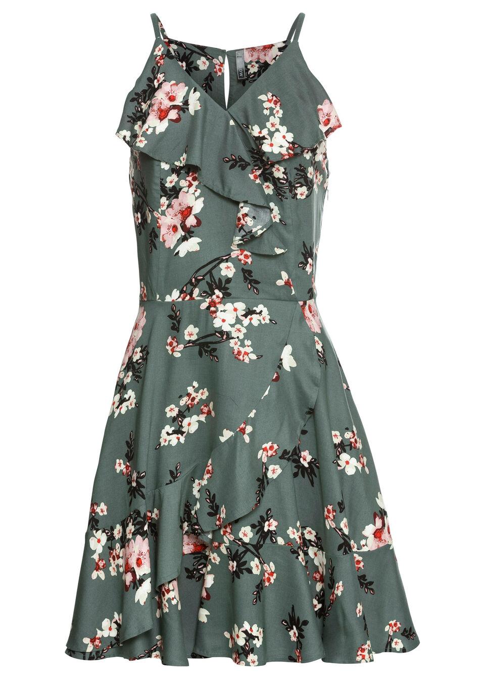 Sukienka z falbanami bonprix zielony eukaliptusowy w kwiaty