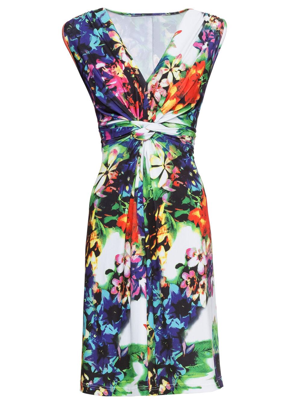 Sukienka letnia bonprix niebiesko-biały w kwiaty