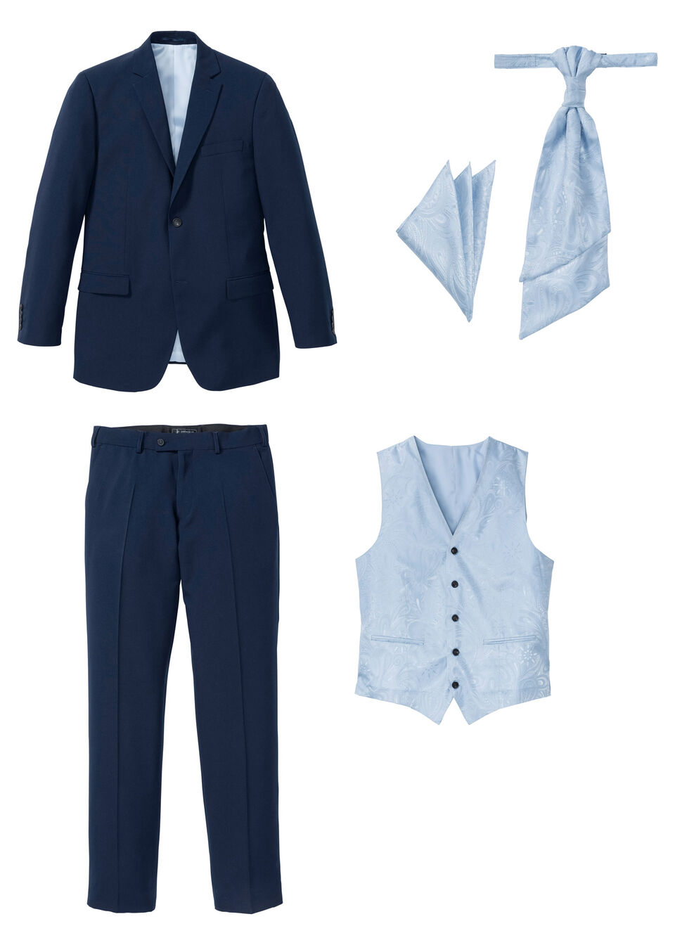 Öltöny (5 részes szett): zakó, nadrág, mellény, dísz zsebkendő, nyakkendő