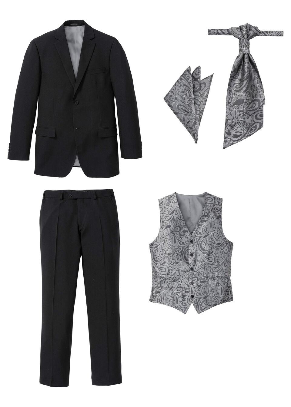 Пиджак, брюки, жилет, рубашка и галстук (костюм из 5 изделий) от bonprix