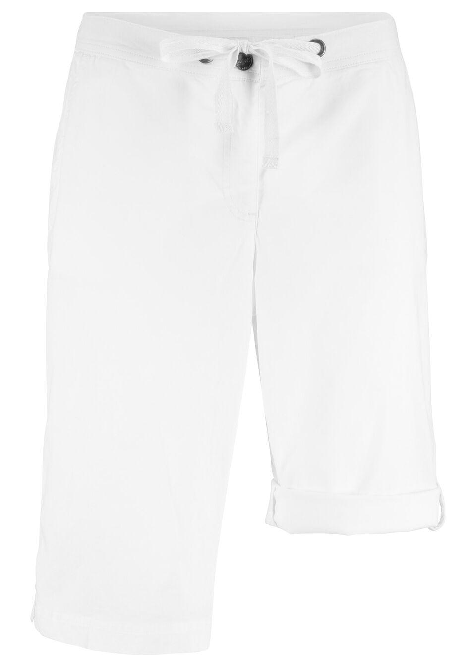 """Szorty """"papertouch"""" z wywijanymi nogawkami bonprix biały"""