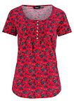 Tricou Henley bumbac roșu floral bpc bonprix collection 14