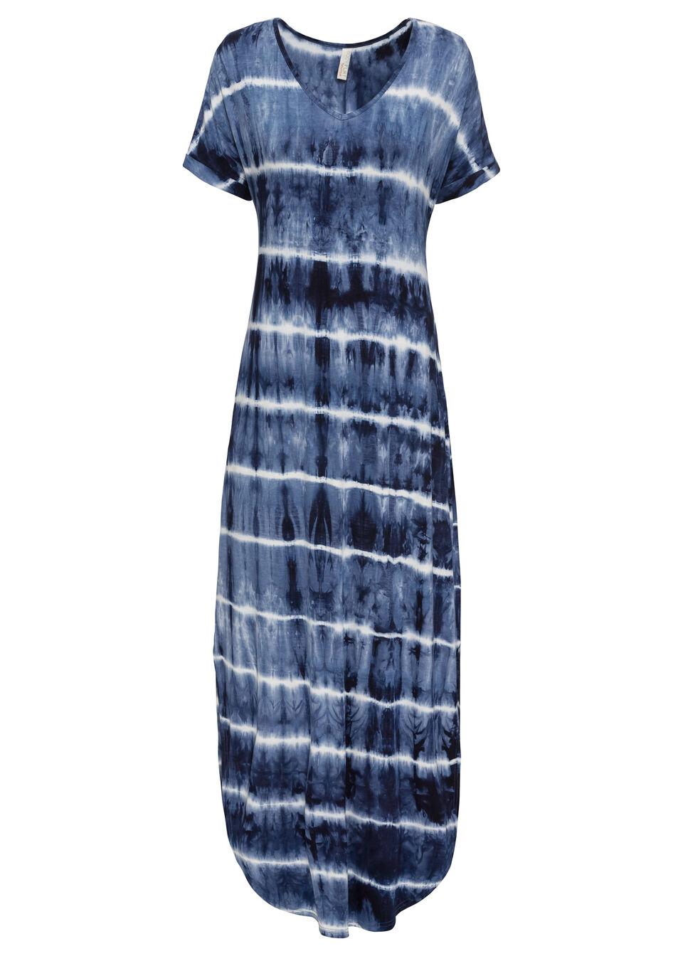 Długa sukienka bonprix niebiesko-biały wzorzysty