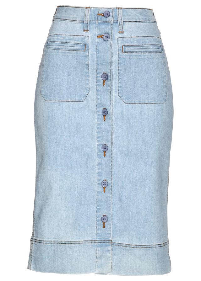 Džínsová sukňa na gombičky