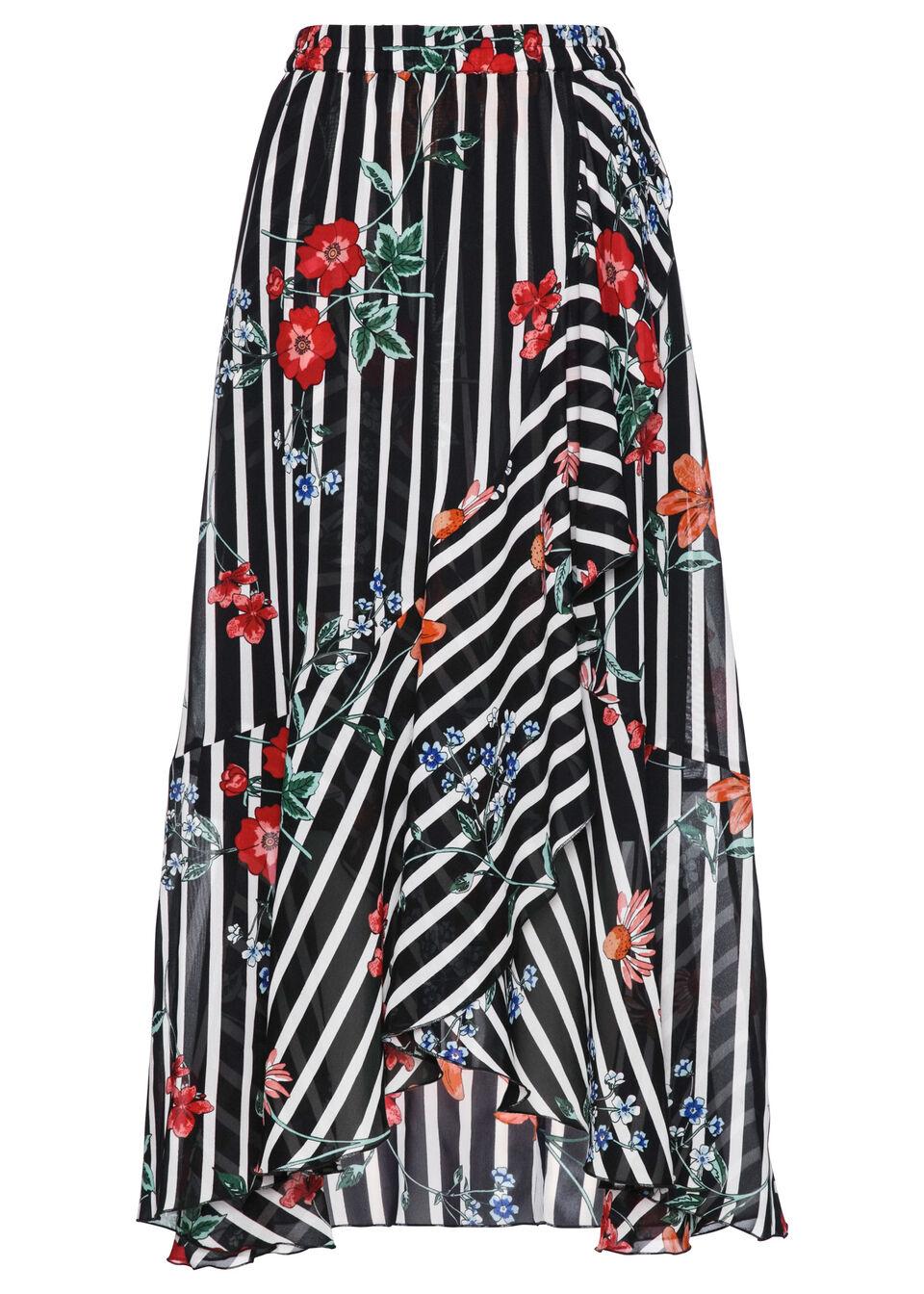 Spódnica szyfonowa bonprix czarno-biały z nadrukiem