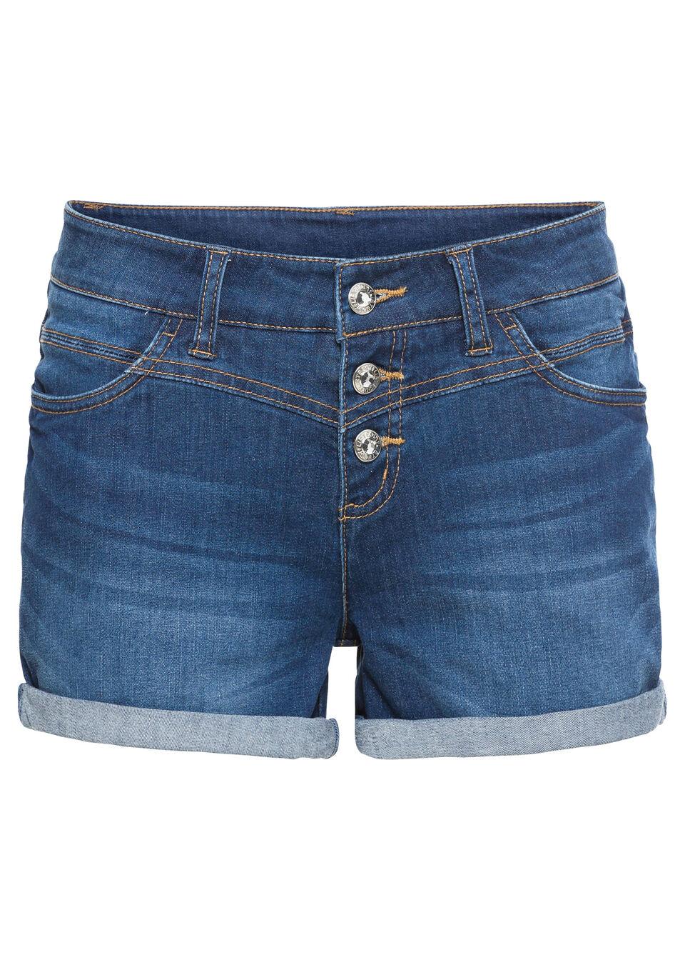 Купить Джинсы, Шорты джинсовые, bonprix, синий «потертый»