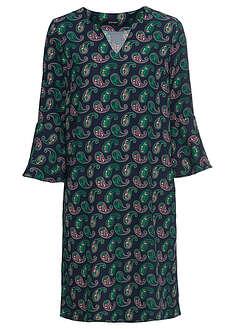 Sukienka ciemnoniebiesko-zieleń trawy - jasnoróżowy z nadrukiem