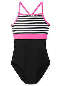 Costum de baie fetiţe alb-negru-pink neon bpc bonprix collection 0