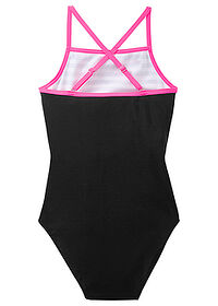 Costum de baie fetiţe alb-negru-pink neon bpc bonprix collection 1