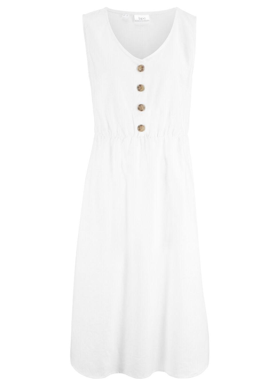 Sukienka lniana midi z plisą guzikową bonprix Sukienka lniana z pl.g b.w
