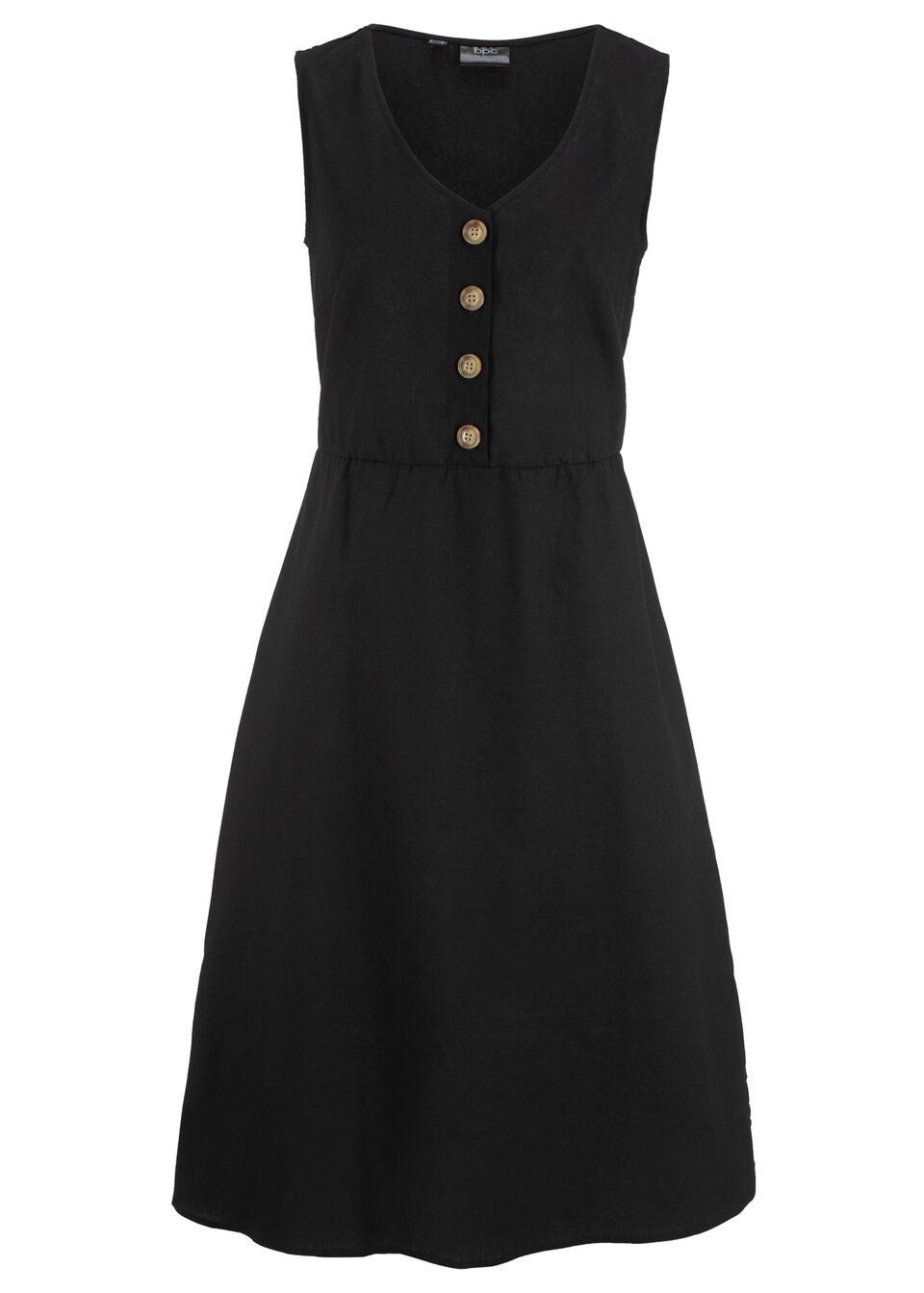 Sukienka lniana midi z plisą guzikową bonprix czarny