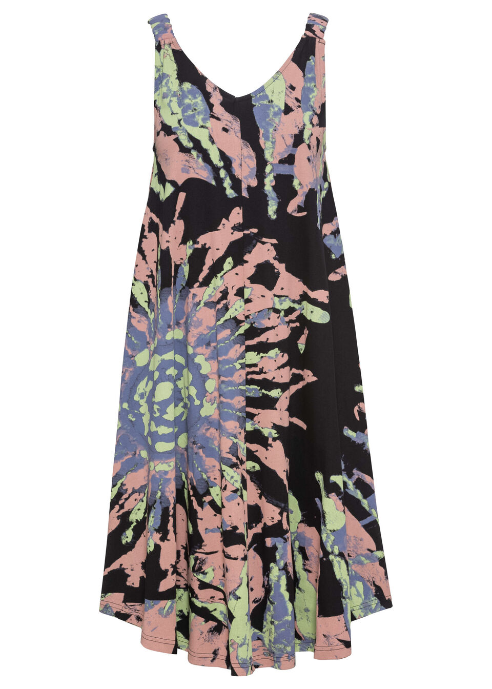 Sukienka z dżerseju w batikowy wzór bonprix czarno-zielony kredowy - stary jasnoróżowy z nadrukiem