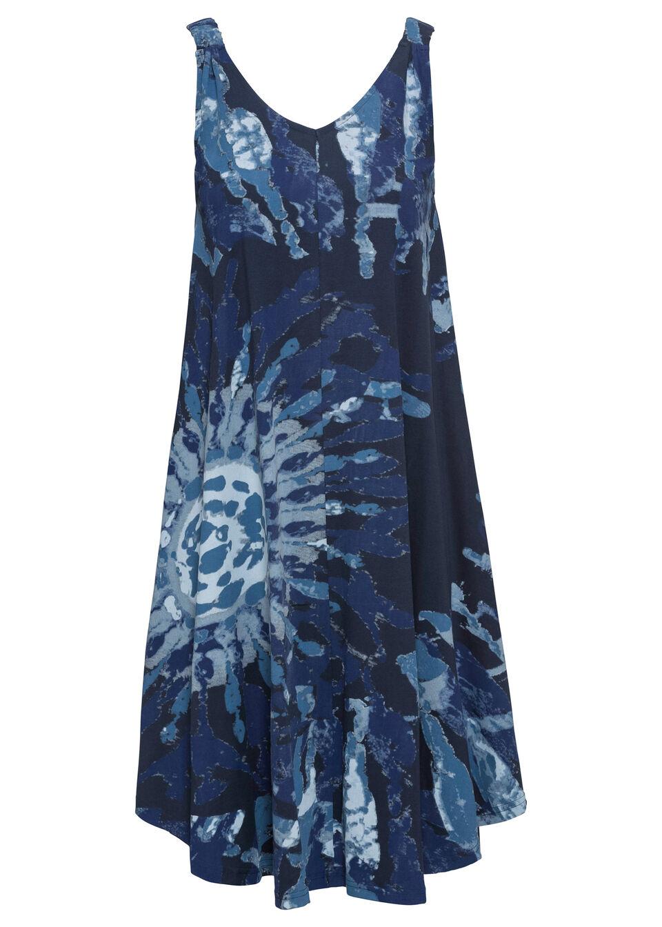 Sukienka z dżerseju w batikowy wzór bonprix ciemnoniebiesko-dymny niebieski - niebieski dżins z nadrukiem