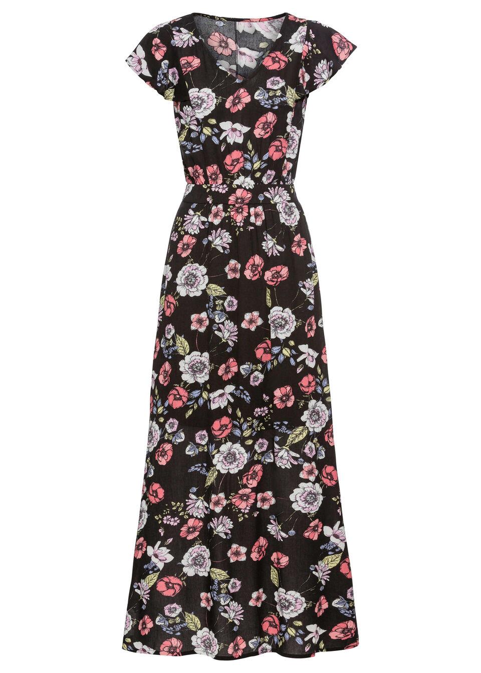 Купить Платья, Макси-платье с принтом и воланами, bonprix, черный в цветочек