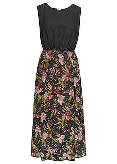 Długa sukienka czarny w kwiaty Letnia