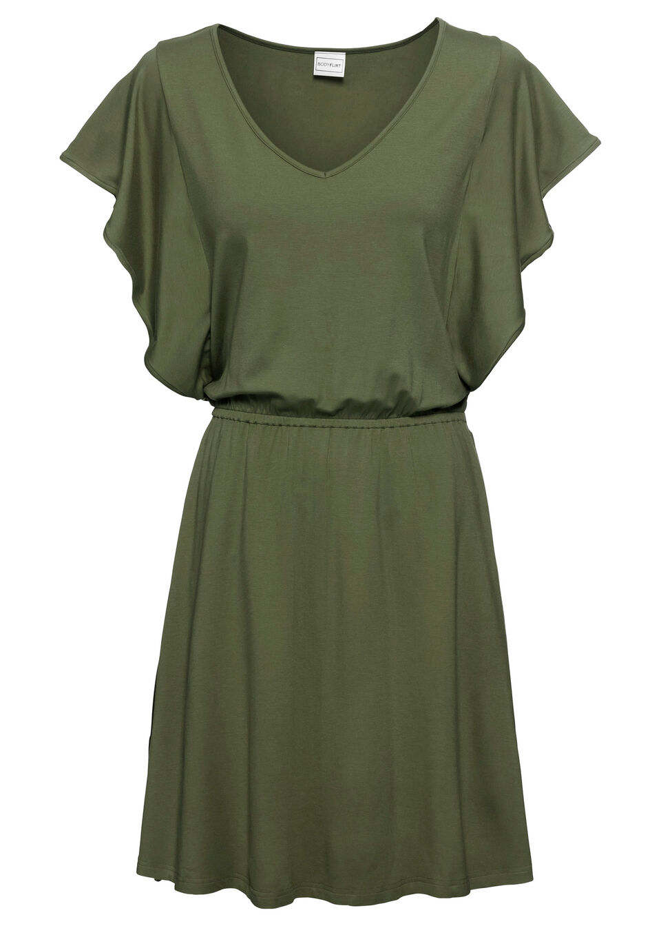 Купить Платья, Платье с рукавами-воланами, трикотаж, bonprix, темный хаки