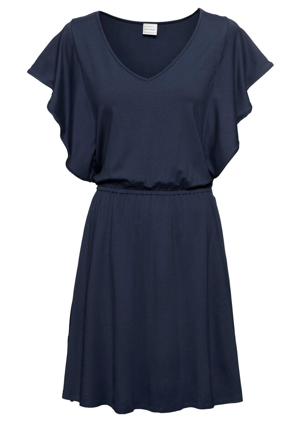Sukienka letnia z dżerseju z rękawami z falban bonprix ciemnoniebieski