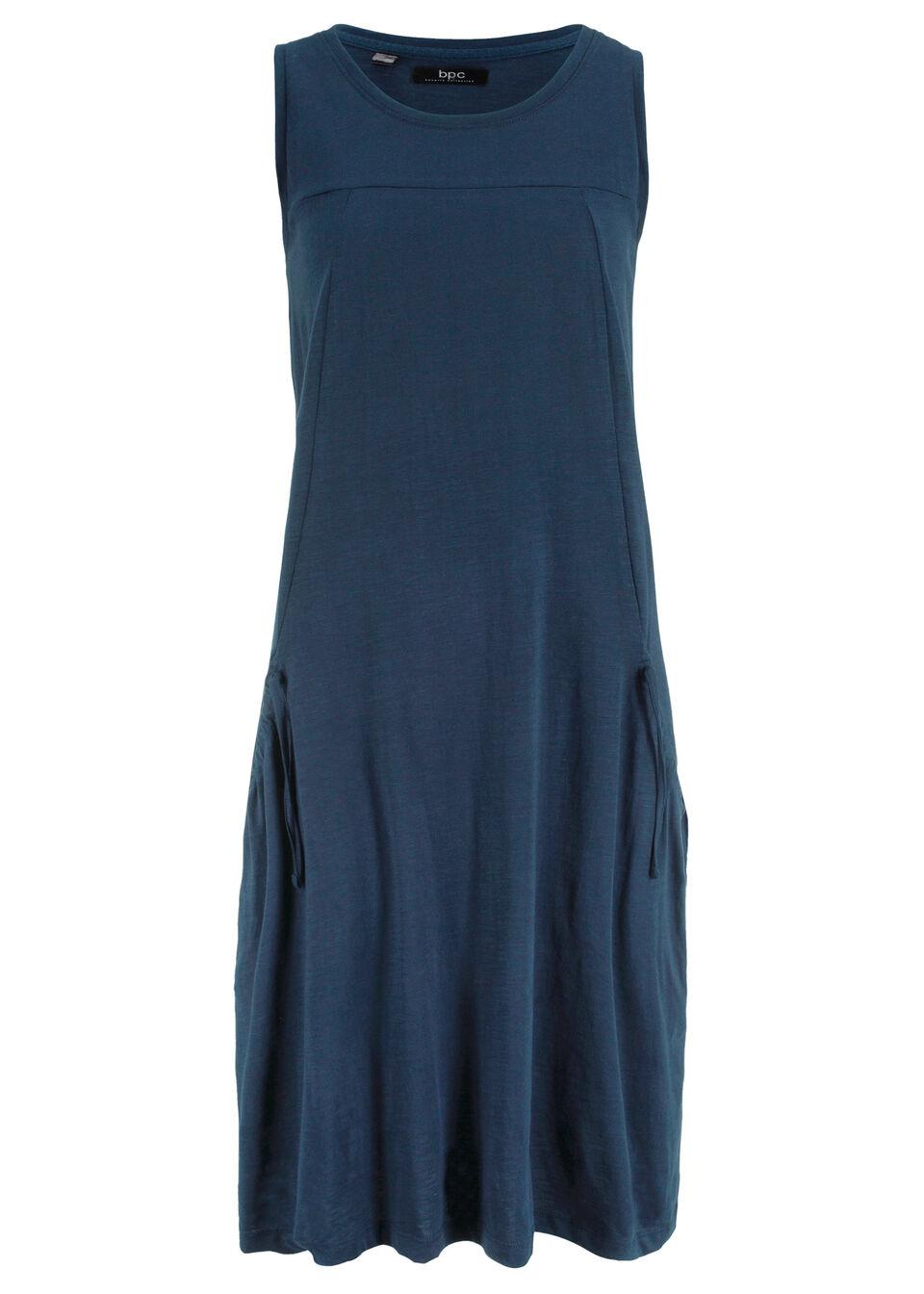 Sukienka bawełniana shirtowa z kieszeniami bonprix ciemnoniebieski