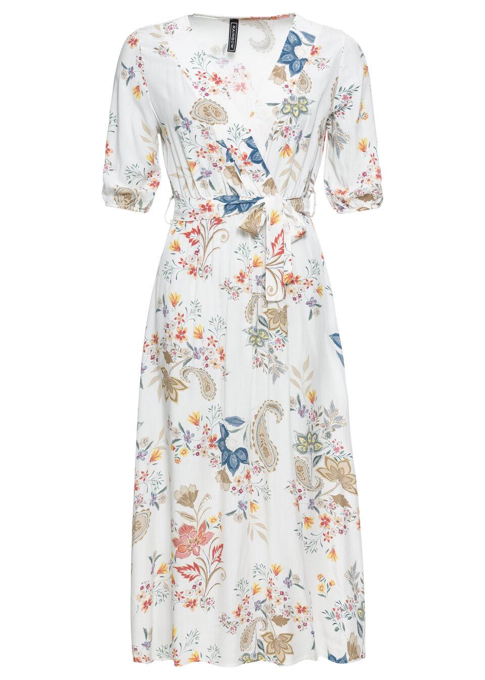 Sukienka midi bonprix biały z nadrukiem