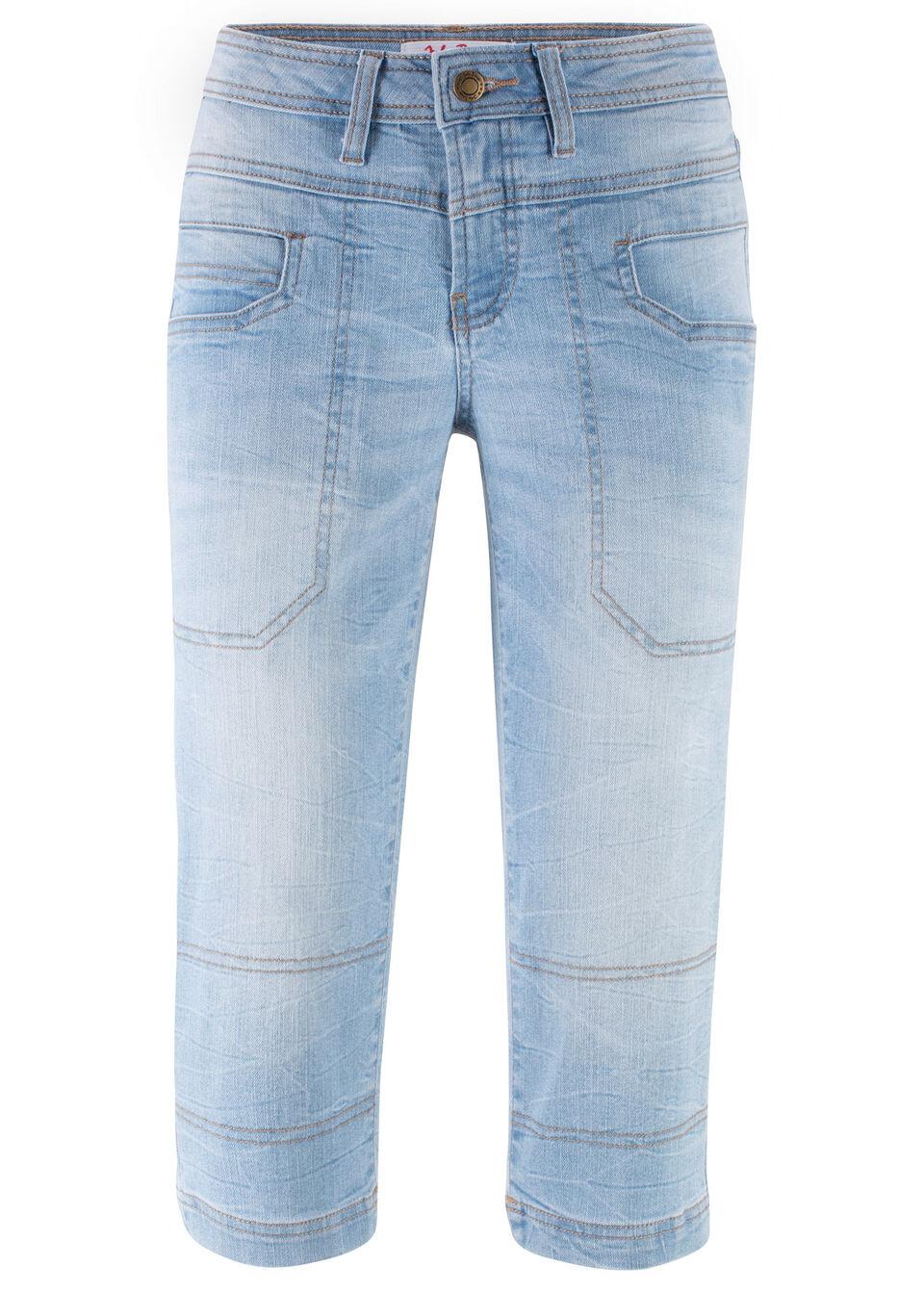 Rybaczki dżinsowe ze stretchem bonprix jasnoniebieski