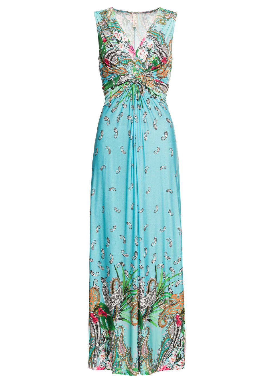 Długa letnia sukienka bonprix turkusowy paisley