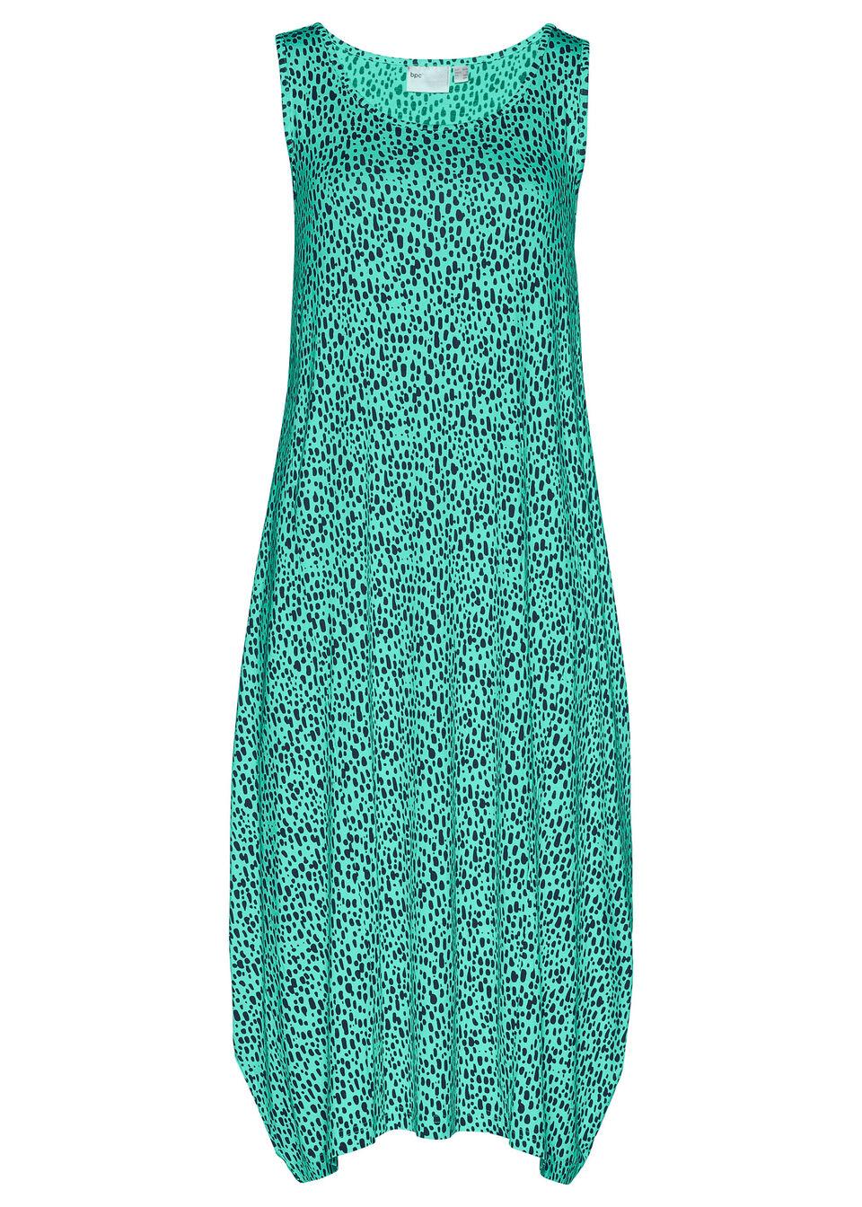 Sukienka midi z dżerseju bonprix ciemnoniebiesko-szmaragdowy wzorzysty