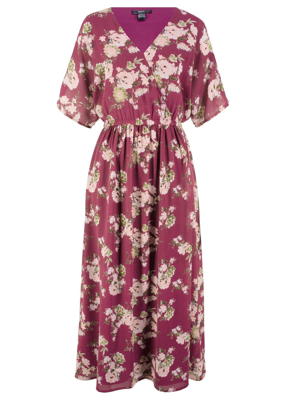 Sukienka z ?or?ety na podszewce, d?. do kostki bonprix czerwony rododendron w kwiaty