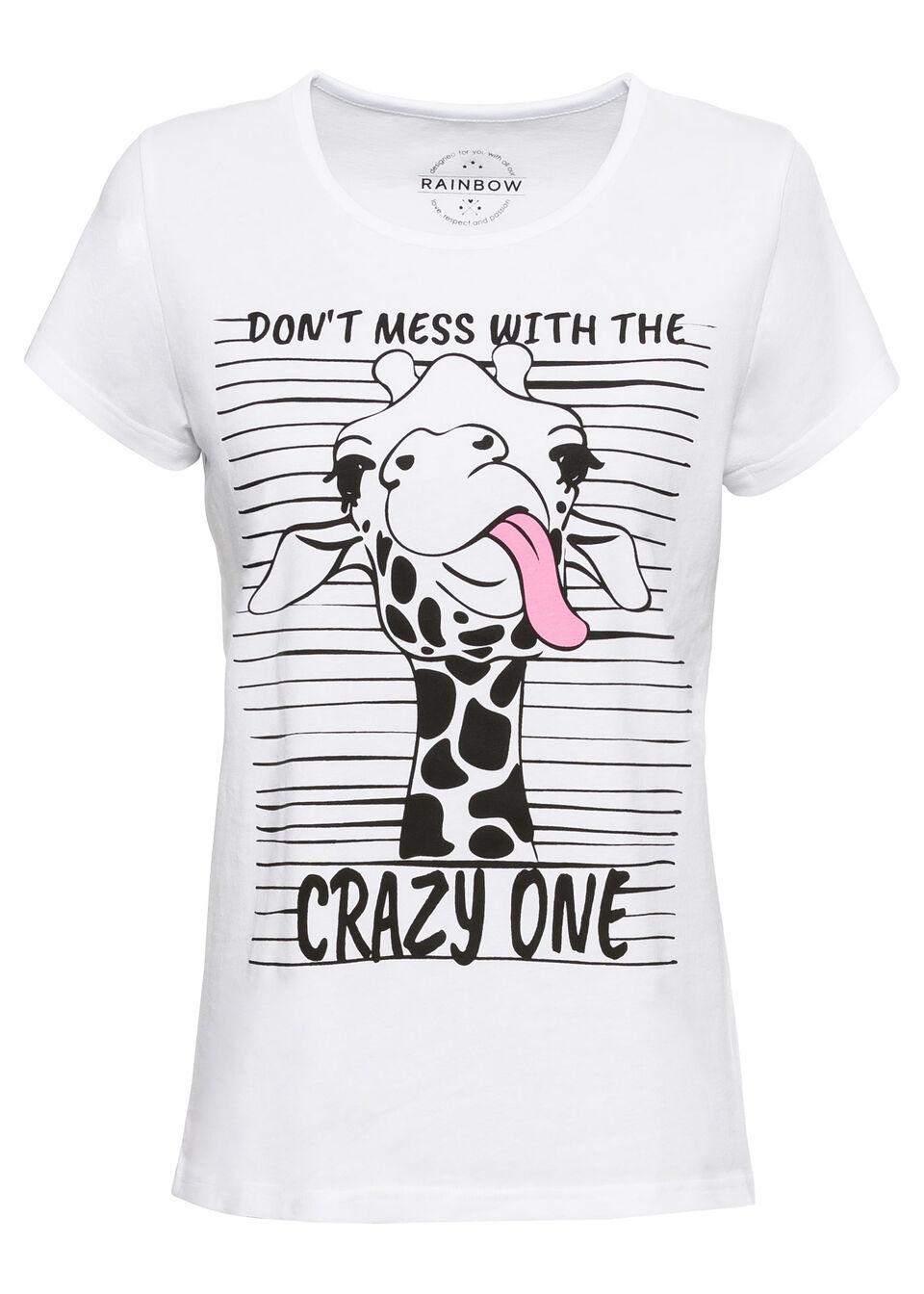 T-shirt z nadrukiem bonprix biały z nadrukiem żyrafy