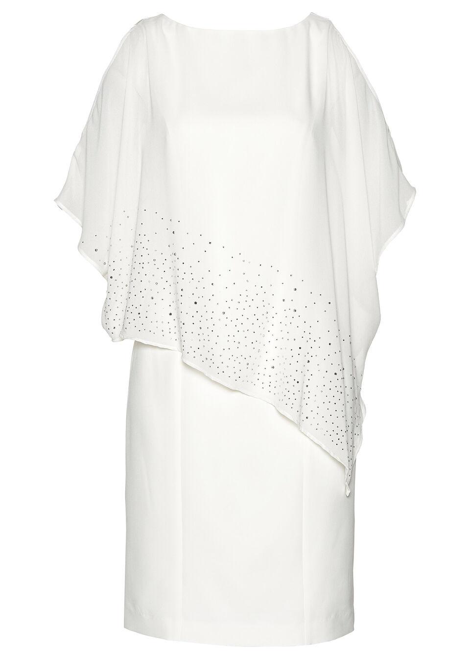 Sukienka ołówkowa z połyskującymi kamieniami bonprix biel wełny