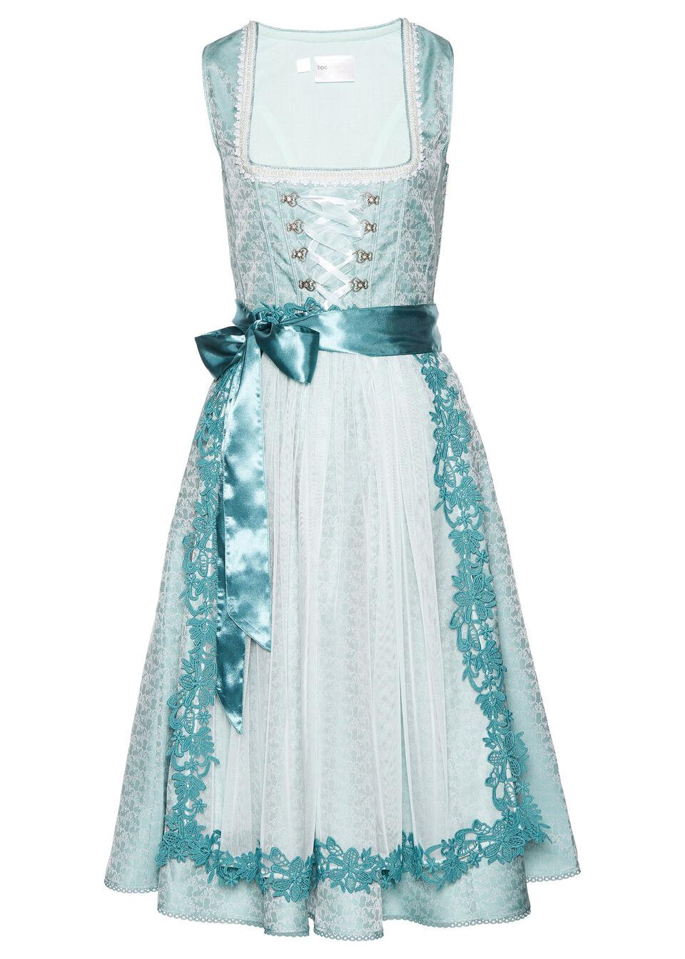 Sukienka ludowa z perełkami bonprix niebieski mineralny - dymny miętowy wzorzysty