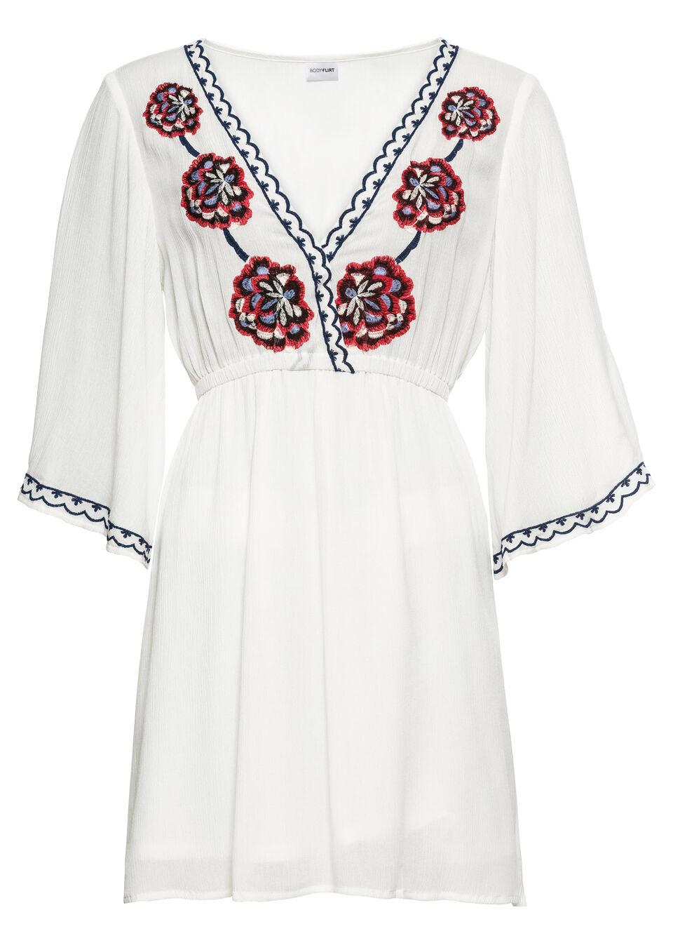 Sukienka z haftem bonprix biel wełny