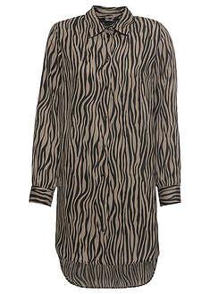 Bluzka w paski zebry czarno-khaki paski zebry