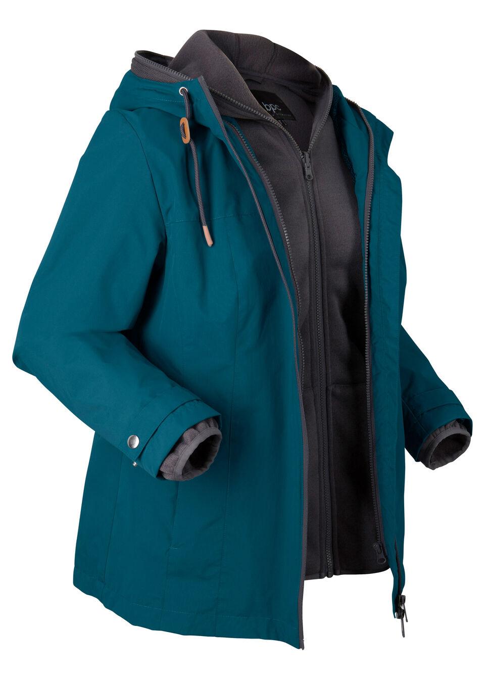 Kurtka funkcyjna 3/4, z bluzą z polaru bonprix niebieskozielono-szary